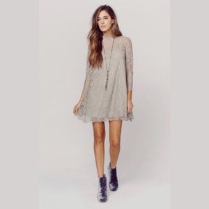 Show Me Your Mumu Lindy Lace Dress Taupe Gray